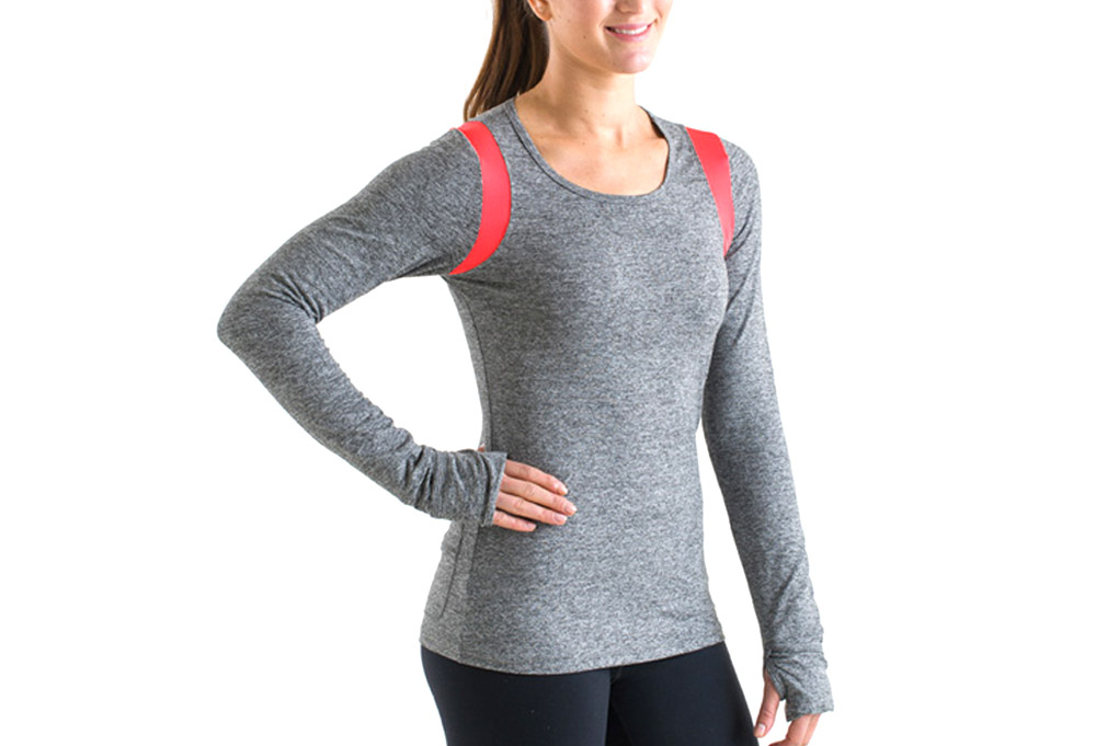 15 Love Performance Long Sleeve Tee - Womens - heather grey/orange mesh, xsmall
