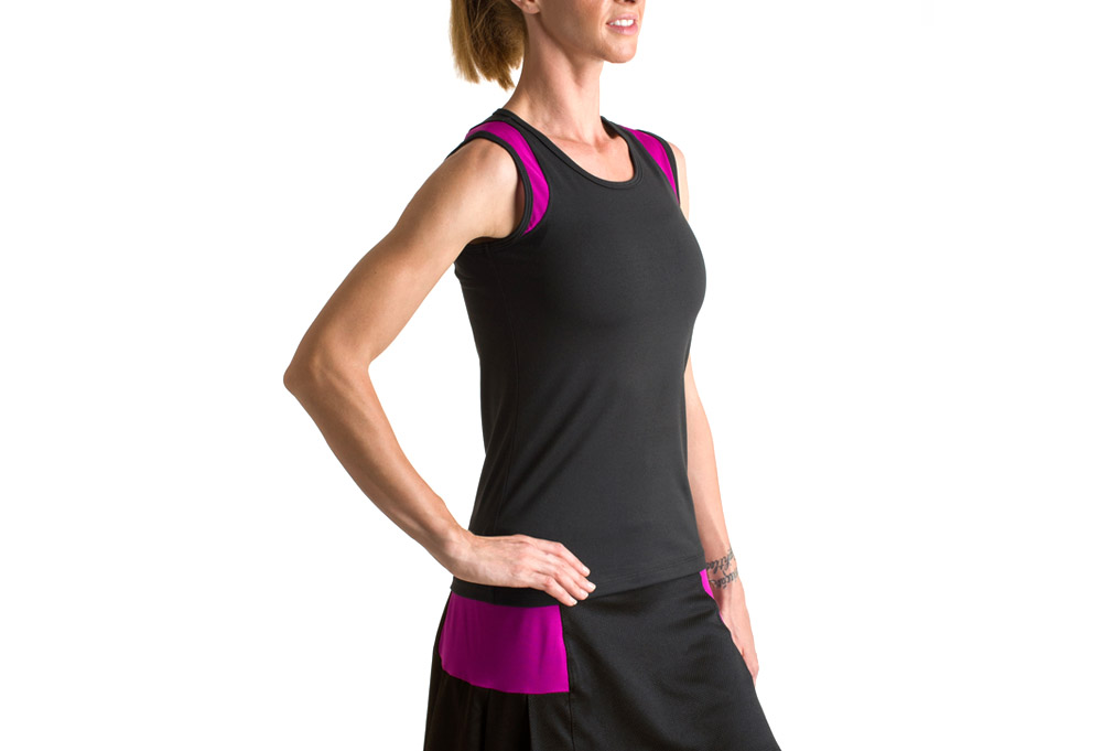 15 Love Sleeveless Performance Tank - Womens - black/neon fuschia mesh, xsmall