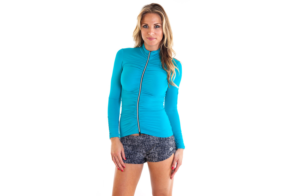Image of Alii Sport Adriana Ruched Jacket - Women's - teal, small