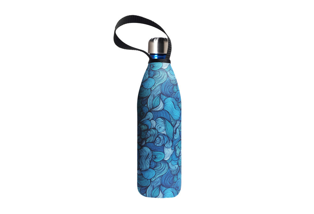 Bbbyo Future Bottle+ Carry Cover - 750 Ml - Wind Print/blue, 750ml