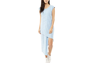 Alternative Apparel Linen Asymmetrical Midi Dress - Women's