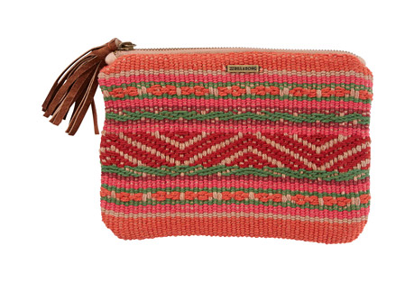 billabong salty water clutch - women's- Save 40% Off - A grab n' go for your everyday essentials. The Salty Water Clutch is made of woven cotton and accented with a vegan leather tassel and metal badge. Minimalist design meets a standout print in this easy to pack clutch.  Features:  - Printed clutch.  - Zip top with faux leather tassel.  - Interior card slots.  - Yarn-dye pattern.  - Metal logo badge.  - Material: 100% cotton.