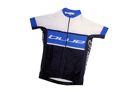 blue competition cycles short sleeve jersey- Save 60% Off - Features:  - Short Sleeve Jersey  - Full zip down front  - Elastic at bottom of jersey  - 3 Storage pockets in back  - 1 zip pocket
