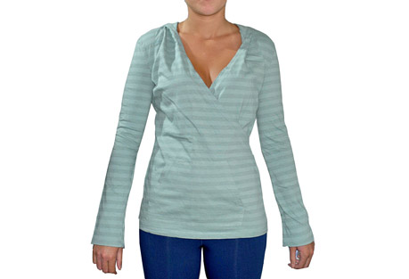 blue canoe stripe hoody - womens- Save 54% Off - This pull-over hoody makes an easy-fit cover-up or wear on it's own. It has a flattering crossover bodice with a kangaroo pocket. It comes in happy spring colors on over-dyed gray and white striped organic cotton.  Features:  - 100% organically grown cotton