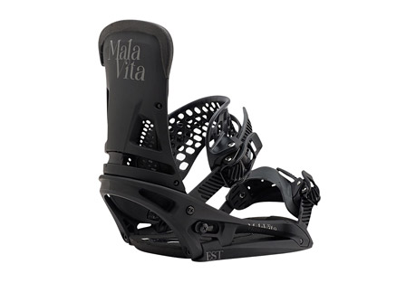 burton malavita est bindings 2017- Save 10% Off - Quickly becoming the go-to binding for the Burton team and beyond, the Malavita balances full wrap response around your boots with a mid-range flex that's 100% focused on freestyle. Features like the Heel Hammock, Super Grip Capstrap(TM) and Asym Hammockstrap(TM) dial in response to the on-snow la vida of riders like McMorris, Davis, and Hale. Pair the EST(R) model (which features the fluid mobility of The Hinge) with a Burton board featuring The Channel(TM) mounting system for the ultimate in flex, feel, and adjustability.   Features:  - Dual-Component Baseplate construction creates a ride that is softer underfoot, yet stiffer edge to edge for a perfect balance of response and board feel.  - 30% Short-Glass/Nylon Composite Spar  - 30% Short-Glass/Nylon Composite Lower  - Canted Living Hinge(TM)  - Zero-Lean Hi-Back  - Heel Hammock  - DialFLAD(TM)  - Asym Hammockstrap(TM)  - Flex Slider  - Supergrip Capstrap(TM)  - Double Take Buckles Featuring Insta-Click for immediate engagement, faster uptake, and fewer cranks to tightness.  - AutoCANT SensoryBED(TM) Cushioning System  - B3 Gel for unstoppable impact protection.  - Discontinued Style/Color