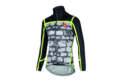 castelli pave' jacket - men's- Save 50% Off - Castelli Size Chart  This jacket is an exercise in reducing the rain jacket to the bare minimum. You need a high-performance fabric, so Castelli worked with eVent(R) to make a lighter version of what they're already supplying to some WorldTour teams. They cut it close to the body to minimize flapping fabric and to improve aerodynamics. Then they taped the seams to make it fully waterproof and gave it a waterproof YKK(R) zipper.  Features:  - Exclusive eVent(R) ultralight microfiber fabric  - External seam taping for total waterproof construction  - Waterproof YKK Vislon(R) zipper  - Silicone gripper elastic at waist  - Extra-long tail with reflective trim for 360deg visibility  - Minimalist construction so it fits easily in jersey pocket  - Weight: 189g