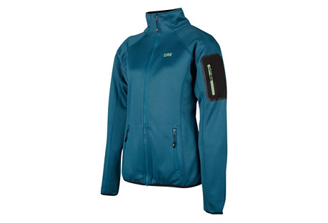 cirq lucy tech fleece jacket - women's- Save 25% Off - This medium weight tech fleece jacket is designed to preform underneath your favorite shell to provide extra warmth and comfort when frigid temperatures threaten your adventure. A handy arm pocket is designed to keep your essentials close at hand as you are climbing peaks and traversing ridge lines.   Features:  - 100% Polyester Tech Fleece  - Brushed Tricot Lined Chin Guard  - Raglan Sleeve For Range of Motion  - 2 Zipper Handwarmer Pockets  - 1 Bonded Zipper Arm Pocket  - Elastic Waistband & Cuffs  - YKK Premium Zippers