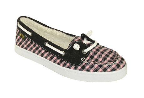 Cruzerz Oceanside 2 Eye Slip-on Shoes - Womens - pink/black canvas, size 8