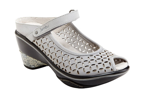 "Jambu Journey Encore Shoes - Women's: Save 41% Off - Your favorite classic Jambu style is back and better than ever. Simple yet elegant, the Journey Encore is one Mary Jane wedge you don't want to miss. Fitted with All-Terra Traction for superior grip, and featuring a memory foam footbed, this open-back mule will take you to any destination with ease, comfort and style.  Features:  - Nubuck upper  - Partially recycled rubber outsole  - Memory foam footbed  - Velcro strap  - 2.5"" heel"