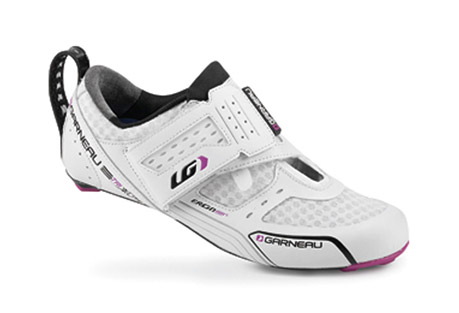 louis garneau tri x-lite triathlon shoes - women's- Save 52% Off - LG Size Chart   This ultralight triathlon elite shoe was designed for performance and speed, on the bike as well as in transition. The Carbon HM Air-Lite outsole and 4.3 mm carbon platform provide excellent power transfer and ventilation. For a fast and efficient transition, a woven puller holds the shoe in a horizontal position on the bike, a velcro tab keeps the closure strap open and a stiff rear puller is easy to grab and pull. The Power Flex closure system offers reversed straps that enhance support without pressure points while allowing a fast transition. The lightweight sandwich mesh upper dries quickly and provides ventilation, so your feet stay dry and comfortable.  Features:   - Women specific fit  - Ergo Air(R) Carbon Composite outsole with patented multivent system: Provides excellent rigidity and increased ventilation  - Carbon HM Air-Lite outsole: Ultralight and rigid for better power transfer and through-and-through ventilation  - Adjustable cleats: Cleats can be moved 7 mm back and forth  - 4.3 mm CARBON platform: Closer to the pedal for even more power  - Replacable low-profile rear heel pad  - Interchangeable COOLMAX Ergo Air(R) Cool   - Stuff blue and Hot Stuff red insoles: Patented ventilation system  - HRS-100 with 0.6 mm membrane: Maintains heel positioning and reduces loss of power  - Reversed velcro closure with Power Flex system: Enhances support without pressure points  - Offset strap: Provides effective heel support  - Strap at heel for easier transition  - Lightweight sandwich mesh upper: Dries quickly and provides ventilation  - COOLMAX Ergo Air(R) insoles : Ventilated and manage moisture  - Approximate weight (size 38/1 shoe) : 192 g/6.77 oz  - Women Optimum Fit