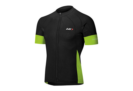 louis garneau carbon cycling jersey - mens- Save 38% Off - Louis Garneau Men's Size Chart  The lightweight Carbon Ion fabric offers exceptional moisture-wicking and airflow, but what's even more is it is now treated with coldblack(R) that reflects the sun to reduce the surface temperature of the fabric.  In other words, the black version of this jersey will stay as cool as the white jersey.  The coldblack(R) treatment also offers extreme UV protection.  With preshaped shoulder and aero lazer band sleeves, the Performance Carbon Cycling Jersey performs aerodynamically and offers comfort when in the aero position.  Features:  - FABRICS:  - CB CARBON ION:  STABILIZE BODY TEMPERATURE  - POWER MESH:  BREATHABILITY, COMFORT, FLEXIBILITY  - ENDUREXX:  STRETCHABILITY, COMPRESSION AND SUPPORT  - DETAILS:   - Full length zip:  Allows maximum vantilaton  - Pre-shaped shoulders:  Enhance comfort in cycling position  - 3 angled back pockets with reflective trim on center pocket:  Easy to access with enhanced visibility  - Aero Lazer band at arm:  Lazer-cut, flat, smooth transition to improve aerodynamics and muscle support  - Enviro pocket:  Allows to separately store empty gel pouches to eliminate littering  - Elastic at hem:  Secures fitF  - ront and back reflective accents:  Enhance visibility  - Racer Fit Men  - UPF/SPF 35  - Coldblack Finish(R)