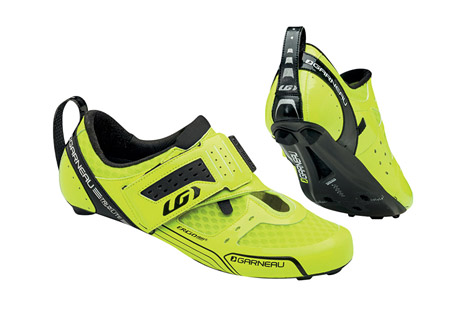 louis garneau tri x-lite shoes - men's- Save 52% Off - This ultralight triathlon elite shoe was designed for performance and speed, on the bike as well as in transition. The Carbon HM Air-Lite outsole and 4.3 mm carbon platform provide excellent power transfer and ventilation. For a fast and efficient transition, a woven puller holds the shoe in a horizontal position on the bike, a velcro tab keeps the closure strap open and a stiff rear puller is easy to grab and pull. The Power Flex closure system offers reversed straps that enhance support without pressure points while allowing a fast transition. The lightweight sandwich mesh upper dries quickly and provides ventilation, so your feet stay dry and comfortable.  Features:  - Carbon Composite Air Lite outsole with patented multivent system: Provides excellent rigidity and increased ventilation Adjustable cleats: Cleats can be moved 7 mm back and forth  - Replaceable low-profile rear heel pad  - HRS-100 with 0.6 mm membrane: Maintains heel positioning and reduces loss of power from slippage  - Reversed velcro closure with Power Flex system: Enhances support without pressure points  - Strap at heel for easier transition  - Lightweight sandwich mesh upper: Dries quickly and provides ventilation  - Interchangeable COOLMAX(R) Ergo Air(R) Cool Stuff blue and Hot Stuff red insoles: Patented ventilation system  - Cleat position indicator compatible with SPD-SL, TIME, LOOK and SPEEDPLAY cleats  - Approximate weight (size 42/1 shoe): 7.6 oz/216g
