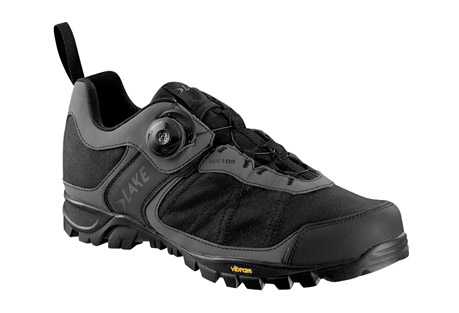 lake mx105 clipless mountain bike shoes- Save 63% Off - The MX105 from Lake is the perfect shoe for casual mountain riding and commuting, with a grippy and supportive Vibram rubber sole and a BOA closure system that lets you dial-in the fit for comfort.   Features:  - Upper: Waxed Canvas with Teltile synthetic upper panels with a Waterproof Membrane to make a highly water resistant upper  - Outsole: Trail V outsole with removable cleat plate cover for caged padels & toe clips  - Closure: BOA technology closure system.   - Last: The Sport last is specifically shaped for on/off bike use. The shape offers more comfort for better walk-ability while also allowing for great power transfer to the pedal.