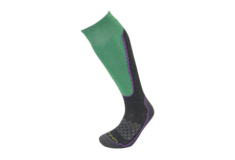 Lorpen T2 Ski Light Merino Socks - Women's: Save 65% Off - Features a unique construction with shin padding for protection and warmth.  The combination of Merino Wool and THERMOCOOL(TM) results in faster drying and wicking than just Merino Wool while still maintaining a comfortable feel against the skin. THERMOCOOL(TM) works to regulate body temperature. Best suited for cold weather activities where moisture is an issue.   This is a fantastic sock for skiers looking who need warmth and dryness on the slopes.  Features:  - THERMOCOOL(TM) works with the body's natural thermal capabilities the help regulate body temperature  - Merino Wool for warmth and a soft feel against the skin  - 10% Ea. Lycra(R) all throughout the sock means no slipping or bunching up. These socks will stay up all day long.  - Light cushioning on the shin for protection  - The Flat Knit Toe Seam means no irritation on your toes  - Women's specific fit (narrower heel and forefoot)  - Height : Women's Over Calf  - Cushioning: Shin Only  - Contents: 40% Polyester THERMOCOOL(TM), 40% Merino, 10% Nylon, 10% EA. Lycra(R)  Sizing:  - Small: W 4-6.5  - Medium: W 7-9.5  - Large: W 10+