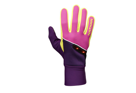 nathan speedshift glove - unisex- Save 54% Off - Cold weather running gloves with high visibility LIGHTWAVE ensures you're seen in the morning and evening hours.   Features:  - LIGHTWAVE active visibility red LED lights on back of hand provide up to 1300 feet of visibility   - Wind resistant fabric on back of hand  - Weather-resistant DWR Finish  - 3M  reflective trims for greater visibility  - Nose wipe chamois thumb  - Conductive TruTouch technology on thumb and index finger allows smart phone operation with gloves on     -Please note unisex is men's sized  Sizing  Men's size  XS, Women's size S  Men's size S, Women's size M  Men's size M, Women's size L  Men's size L, Women's size XL  Men's size XL Only available to ship within the U.S