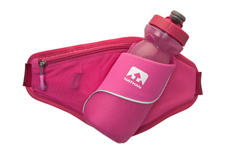 nathan triangle hydration waist pak- Save 50% Off - The perfect pak for walkers, joggers, and runners alike. The Triangle makes carrying hydration and essentials a piece of cake. The zippered pouch holds your keys, phone and other necessities.  Features:  - Slanted hydration storage  - Zippered pocket  - 6.8 oz / 192.8 g  - 22 oz / 650 mL  - One Size: 26-44 in / 66-112 cm  - Only available to ship within the U.S