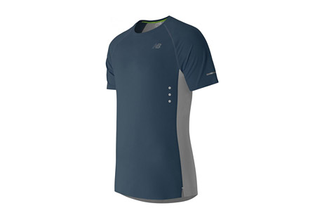new balance precision run short sleeve - men's- Save 56% Off - New Balance Men's Apparel Size Chart  The men's Precision Run Short Sleeve is designed with NB GLOW, silver reflective details and glow-in-the-dark eyelets to help you stand out even as you run into the night. Welded seams and a laser-cut, welded hem make this a streamlined running go-to. Plus, laser-cut perforations on the back and NB DRY technology work together to wick sweat away fast, helping you stay comfortable mile after mile.  Features:  - A minimal charge to the glow-in-the-dark graphics of 10 minutes under direct light illuminates your performance. There you glow.  - Athletic fit  - Dropped back hem  - Engineered jacquard graphic to back panel  - Glow-in-the-dark eyelets  - Laser cut and welded lower hem  - Laser cut perforations  - Reflective logos and trims  - Welded seaming  - Material: 91% Polyester and 9% Spandex