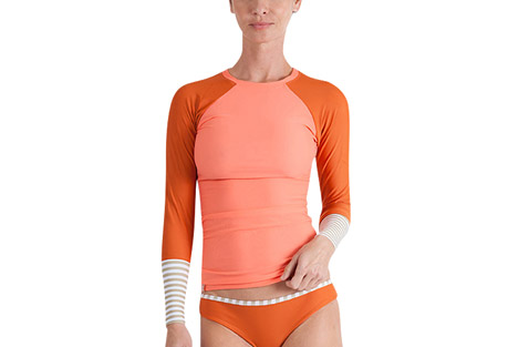 seea doheny rashguard - women's- Save 60% Off - The Doheny Rashguard is a favorite of lady surfers everywhere. The rapidly-changing colors and prints in limited editions are often here and gone in a blink, but you can always count on the signature details that you first fell in love with: color-blocked raglan sleeves, delicate neck opening, and slim-fitting extra long length.  Features:  - Italian nylon/spandex with original prints rated UPF 30+ to 50+  - Extra long and slim-cut body  - Raglan sleeve  - Contrast cuff  - Elastic hem on neck  - Made in sunny California