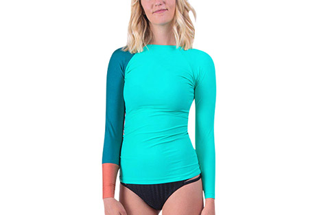 seea doheny rashguard - women's- Save 61% Off - The Doheny Rashguard is a favorite of lady surfers everywhere. The rapidly-changing colors and prints in limited editions are often here and gone in a blink, but you can always count on the signature details that you first fell in love with: color-blocked raglan sleeves, delicate neck opening, and slim-fitting extra long length.  Features:  - Italian nylon/spandex with original prints rated UPF 30+ to 50+  - Extra long and slim-cut body  - Raglan sleeve  - Contrast cuff  - Elastic hem on neck  - Made in sunny California