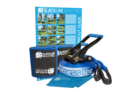 slackline industries fitness line- Save 40% Off - Incorporate slackline resistance training into any workout routine with the complete FITNESS LINE kit designed to enhance traditional exercises, strengthen core muscles and hone balance skills. The included stretch band and workout guide compliment the elastic-style slackline to offer a full body resistance training program.   The complete kit includes a ratchet with safety lock and main line with a sewn loop on one end. The advertised TrueLength refers to the length of the main line alone. Other companies will advertise a kit length that includes the webbing on the ratchet and the main line. Essentially shorting you on your main line!   The easy-to-use ratchet comes with 8 feet of webbing and a reinforced loop to firmly anchor and tension the slackline. The handle grip is a soft plastic for comfortable and efficient tensioning and the ratchet release is also rubberized for easy and safe release of the tension on the line.  Features:  - True Length: 50ft (15m) main line + 8ft (2.4m) ratchet strap  - Width: 2 inches (50mm)  - Webbing Strength: 3 tons  - Max Weight: 300 lbs (136 kg)  - Age: 5 & up  - Tree Protection: use of tree protection is HIGHLY encouraged on all of our products. It will not only protect what you use as anchors i.e. trees and posts, but it will also prolong the life of your gear. It is also the right thing to do.  - Elastic Stretch Band: elastic stretch band integrates with the slackline providing additional exercise options.