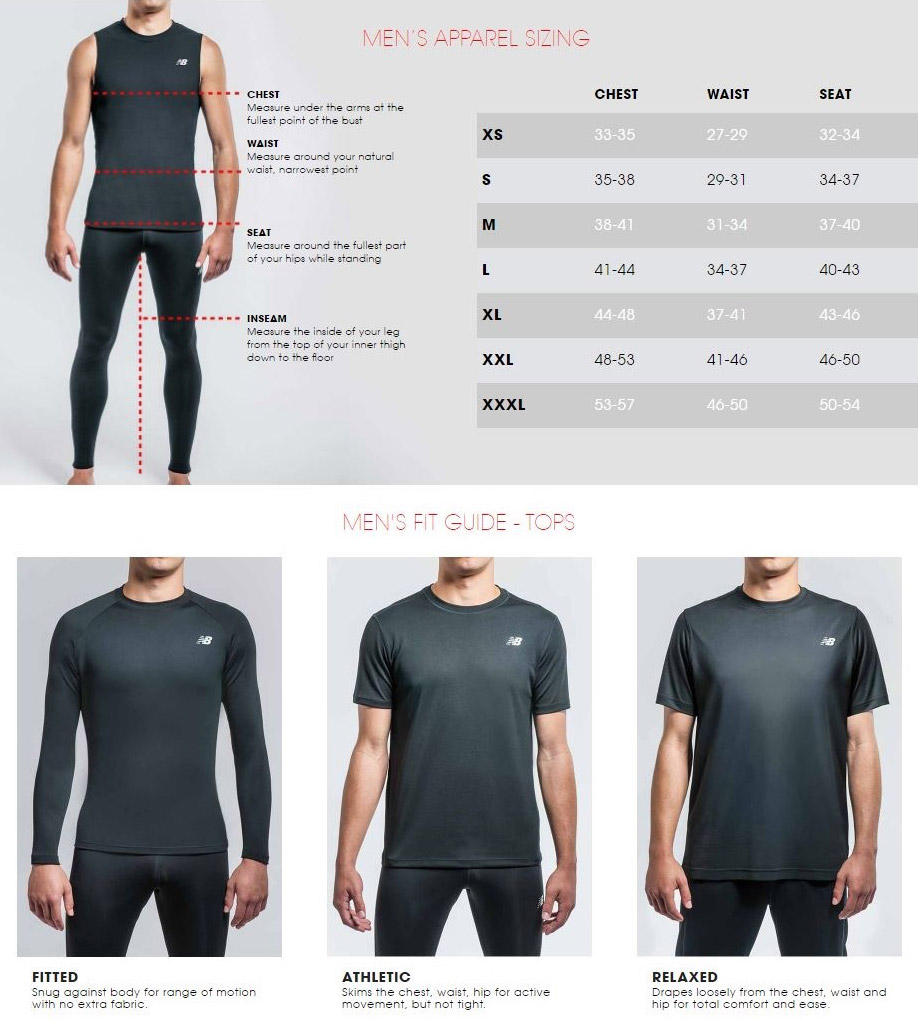 new arrival bb39c fd8ab New Balance Men s Apparel Size Chart Ready for a workout  The Accelerate  Tight provides the best of comfort and function when you hit the road or  the gym.