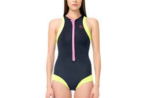 Signature Round Neck Front Zip One Piece Swimsuit - Women's