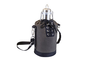 Insulated Growler Tote with 64 oz. Silver Stainless Steel Growler