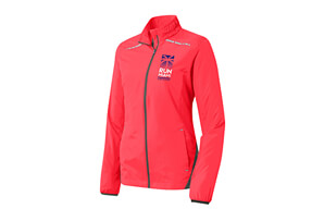 Ltwt Runner's Zip Jacket - Hot Coral 'Left Chest Run Miami Design' - - Women's