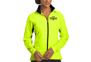 Water-Resistant Reflective Zip Jacket - Pace Yellow 'Embroidered Design' - - Women's