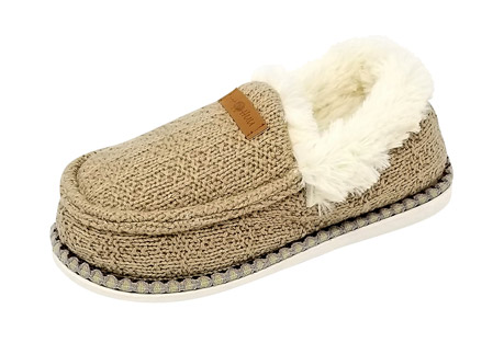 Textured Knit Mocassin Slippers - Women's