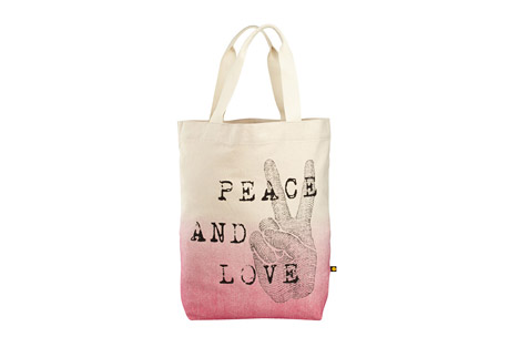 Engraved Peace Love Messaging Tote