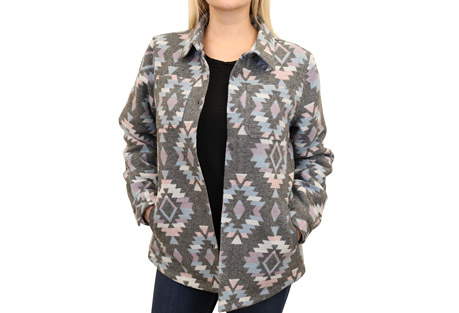 Western Fleece Lined Knit Shirt Jac - Women's