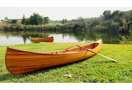 12' Curved Bow Wooden Canoe with Ribs