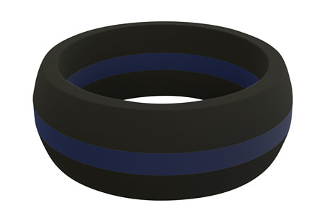 Blue Line Perforated Silicone Ring - Men's
