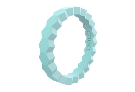 Stackable Aquamarine Chevron Ring - Women's