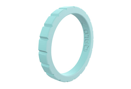 Stackable Aquamarine Step Silicone Ring - Women's