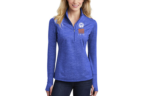 '2019 Finisher' Reflective 1/2 Zip Thumbhole Tech Pullover - Women's